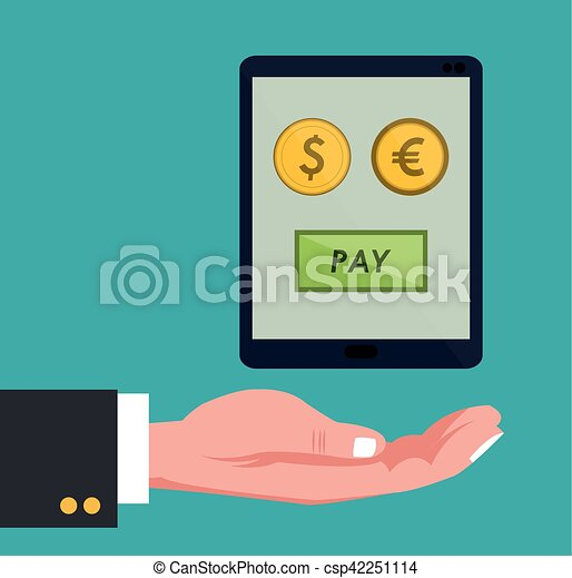 hand holds smartphone global payment euro dollar coins vector rh canstockphoto co uk Small Dollar Sign Clip Art Small Dollar Sign Clip Art