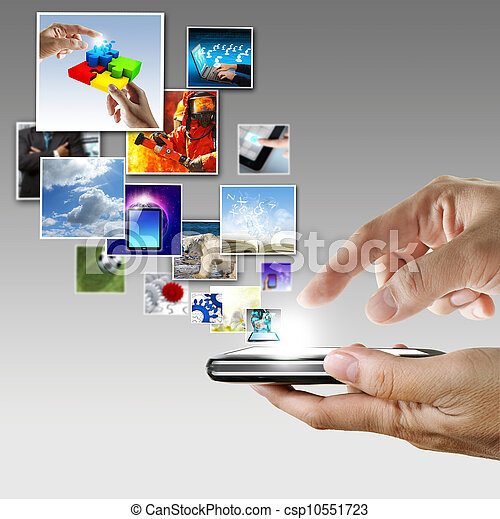hand holds touch screen mobile phone streaming images - csp10551723
