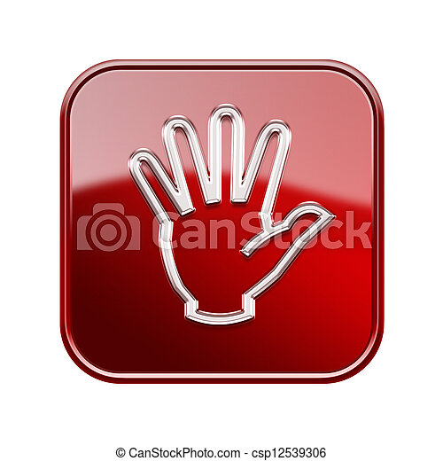 hand icon glossy red, isolated on white background - csp12539306