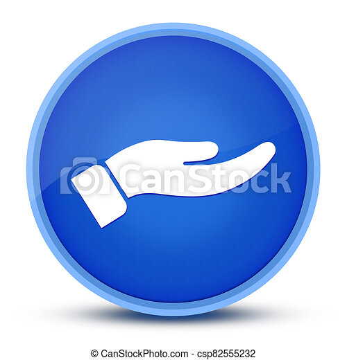 Hand icon isolated on special blue round button abstract - csp82555232
