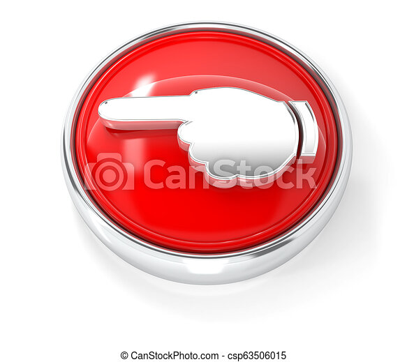 Hand icon on glossy red round button - csp63506015