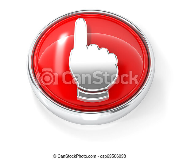 Hand icon on glossy red round button - csp63506038