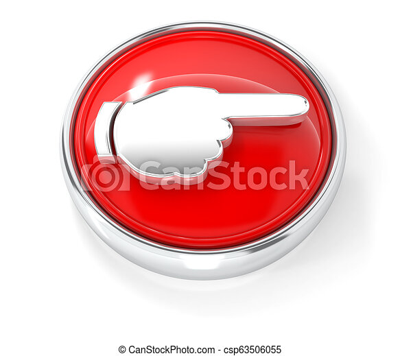 Hand icon on glossy red round button - csp63506055