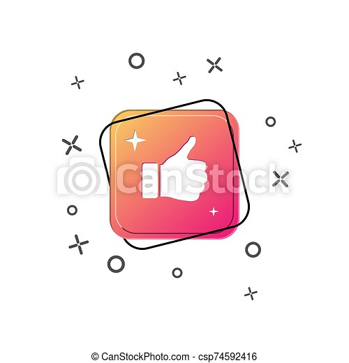 Hand icon with thumb raised above. Purple square button. Flat design - csp74592416