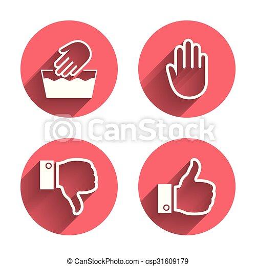 Hand Icons Like And Dislike Thumb Up Symbols Not Machine Washable