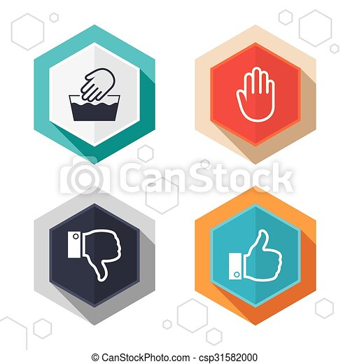 Hexagon Buttons Hand Icons Like And Dislike Thumb Up Symbols Not