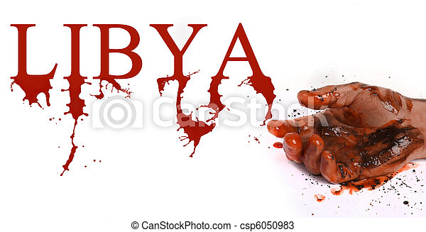 Hand in blood and word Libia symbolizes dead people in Libyan conflict. - csp6050983