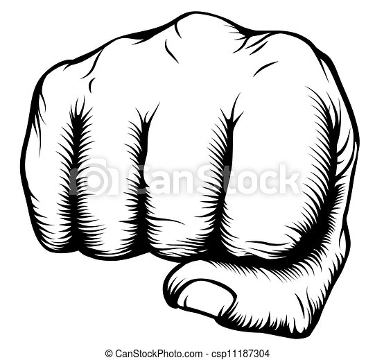 Hand in fist punching from front - csp11187304