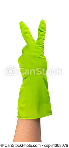 Hand in green protective rubber glove isolated on white - csp64383079