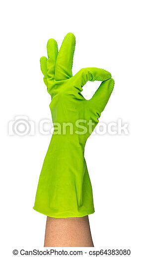 Hand in green protective rubber glove isolated on white - csp64383080