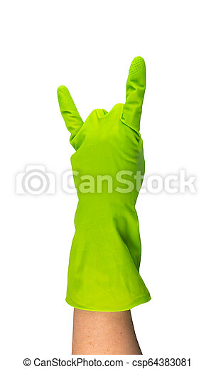 Hand in green protective rubber glove isolated on white - csp64383081
