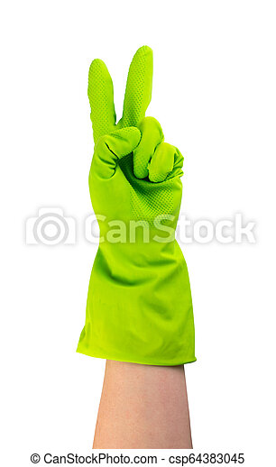Hand in green protective rubber glove isolated on white - csp64383045