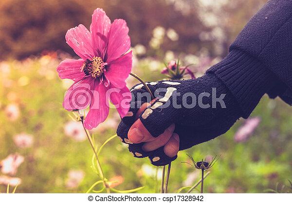 Hand in skeleton glove is violently grabbing flower with bee - csp17328942