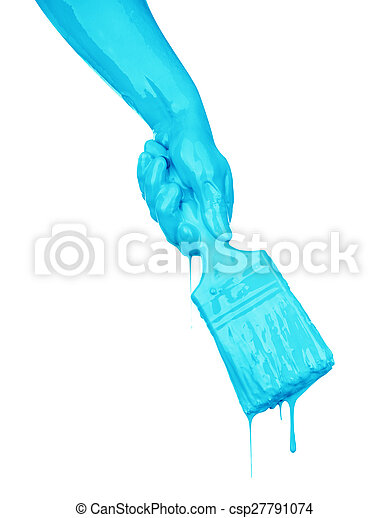 hand in the paint isolated on white - csp27791074