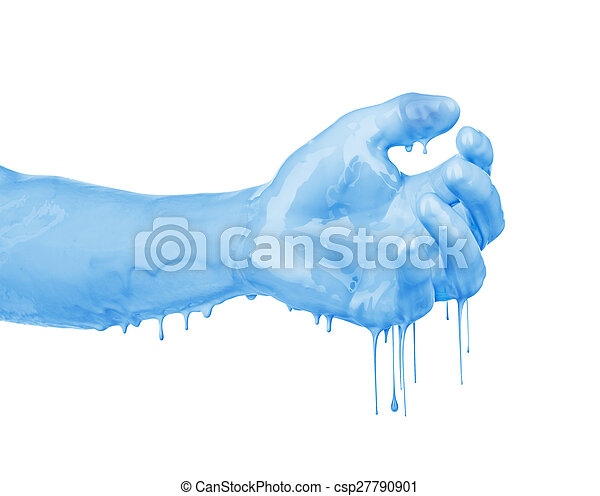 hand in the paint isolated on white - csp27790901