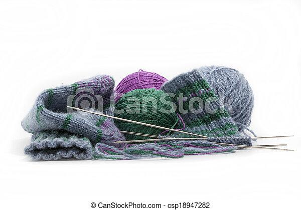 hand knitted socks - csp18947282