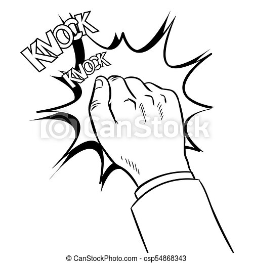 Hand knokning door coloring book vector - csp54868343