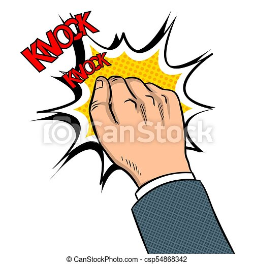 Hand knokning door pop art vector illustration - csp54868342