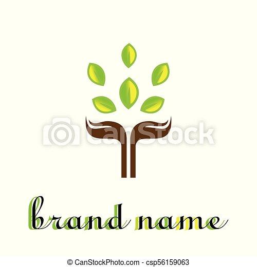 hand leaf logo - csp56159063