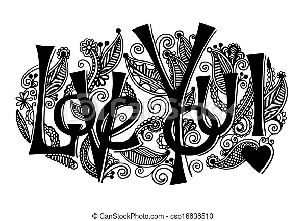 hand lettering inscription - love you - csp16838510