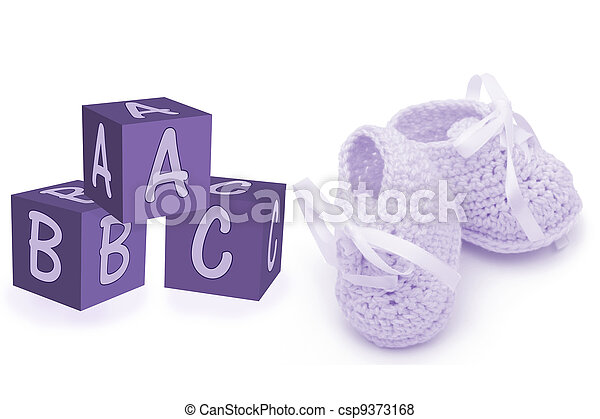 Hand-made baby booties and blocks - csp9373168