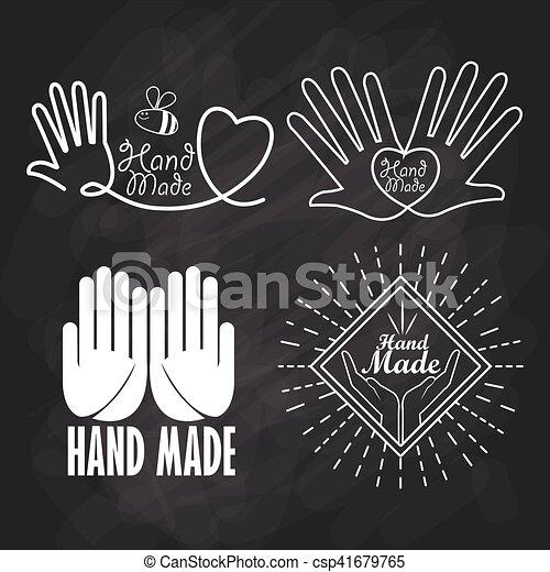 Hand Made Label Handmade Crafts Workshop Vector Illustration