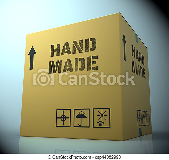 Hand Made Showing Handcrafted Product 3d Rendering - csp44082990