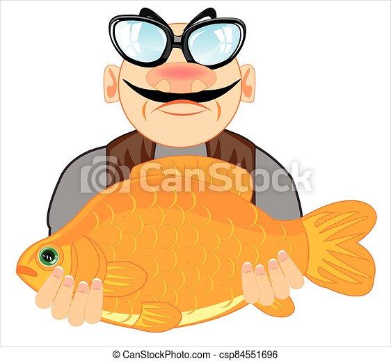 hand, maenner, zeichnung, fische, groß - csp84551696