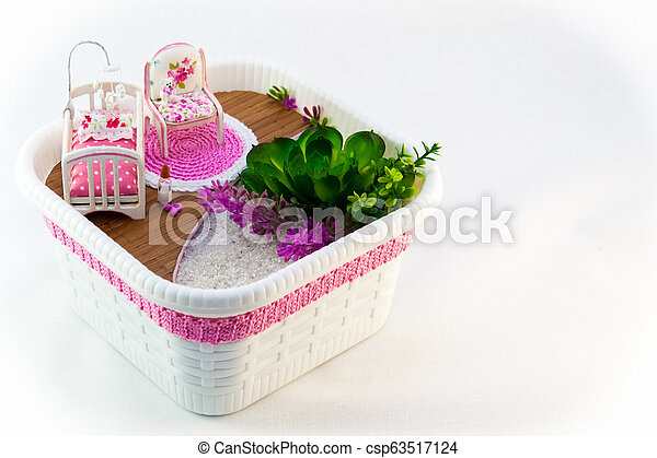 Hand Maid, a hobby pink toy room with a cot for baby - csp63517124