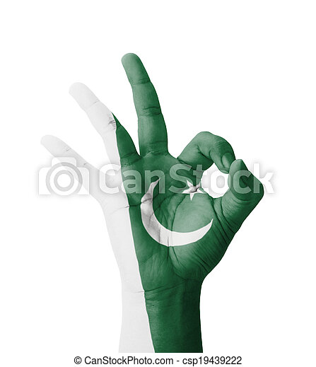hand making ok sign, pakistan flag painted as symbol of