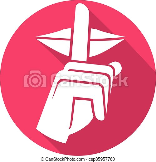 hand making silence sign flat icon (silence symbol, no speak clip