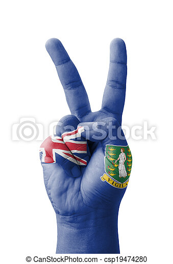 Hand making the V sign, British Virgin Islands flag painted - csp19474280