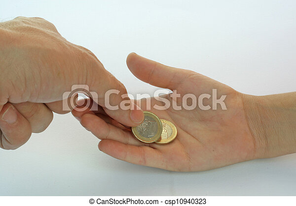 hand of a child and the hand of the father who gave him the tip in coins of one euro - csp10940323