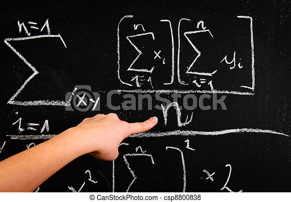 Hand of a girl pointing at chalkboard - csp8800838