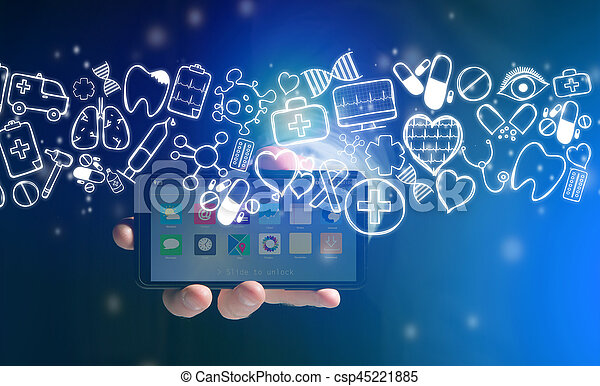 Hand of a man holding smartphone with medical icons all around - csp45221885
