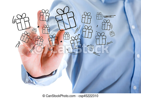 Hand of a man touching futuristic interface with christmas icons - csp45222310