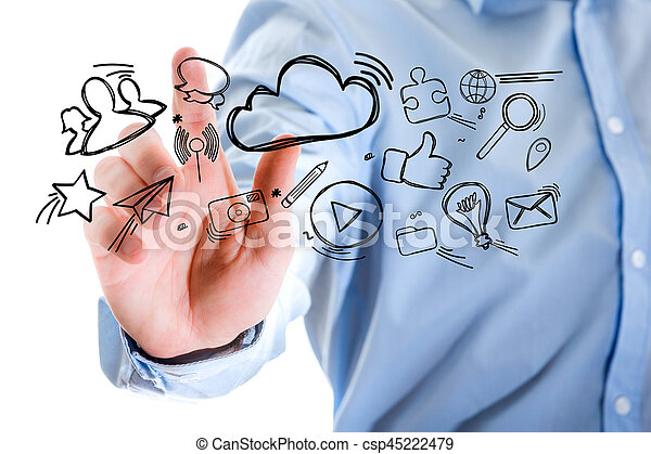 Hand of a man touching futuristic interface with internet icons all around - csp45222479