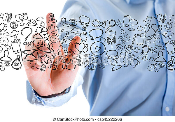 Hand of a man touching futuristic interface with internet icons all around - csp45222266