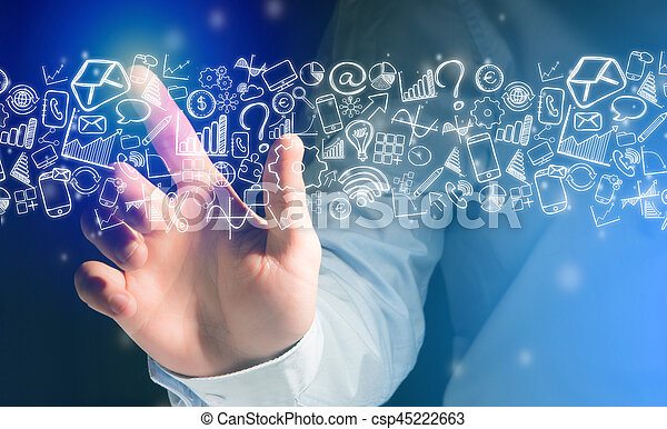 Hand of a man touching futuristic interface with business icons all around - csp45222663