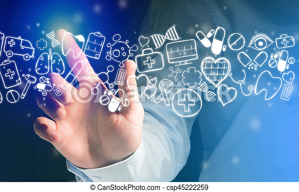 Hand of a man touching futuristic interface with medical icons all around - csp45222259