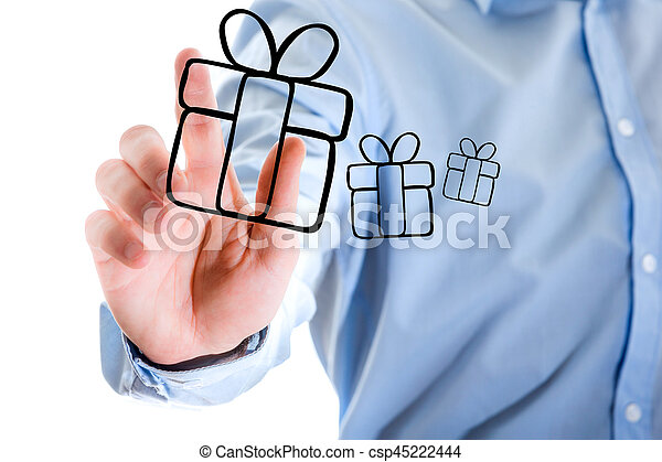Hand of a man touching futuristic interface with christmas icons - csp45222444