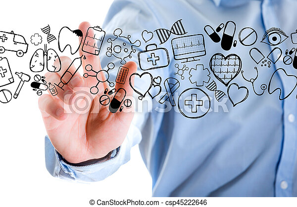 Hand of a man touching futuristic interface with medical icons all around - csp45222646
