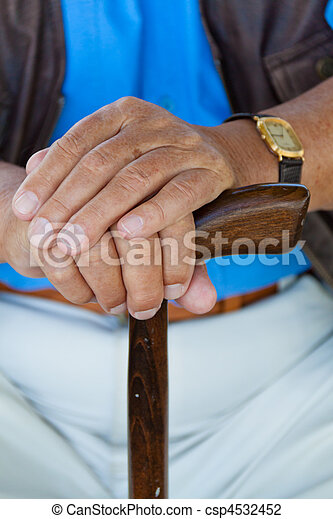 Hand of a man with a cane. Senior Disabled - csp4532452