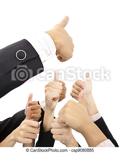 hand of business group with thumbs up - csp9080885