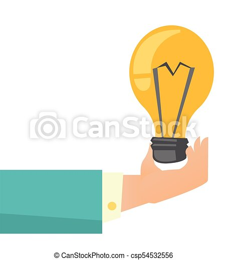 Hand Of Business Person Holding Bright Light Bulb