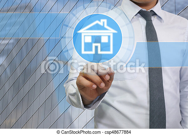 Hand of businessman use finger touch icon home. - csp48677884