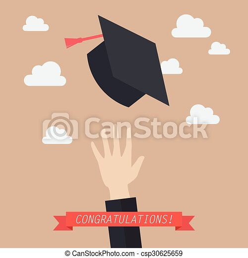 Hand of graduate throwing graduation hats in the air - csp30625659