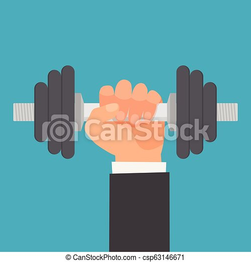 Hand of man holding a dumbbell. - csp63146671