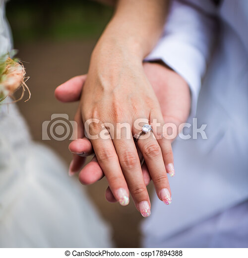 hand of the groom and the bride with wedding rings stock illustration - Wedding Rings On Hands