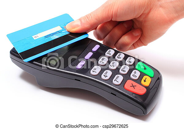 Hand of woman paying with contactless credit card, NFC technology - csp29672625